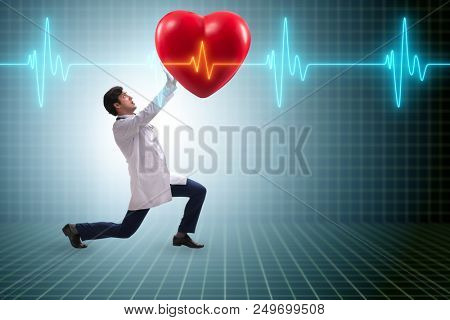 poster of Doctor cardiologist supporting cardiogram heart line