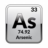 Arsenic Symbol.chemical Element Of The Periodic Table On A Glossy White Background In A Silver Frame poster