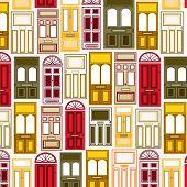 Colorful Doors Seamless Pattern. Front Door Facades Vector Illustration. Architectural Door Pattern  poster