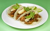 stock photo of tacos  - Tacos al pastor mexican traditional dish tacos.