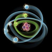 foto of proton  - Computer generated 3D illustration of Planetary model of atom on black
