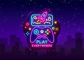 Gamepad And Smartphone Neon Sign Vector. Games For Smartphone Logotype, Emblem In Modern Trend Desig poster