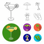 Brazil, Country, Umbrella, Beach . Brazil Country Set Collection Icons In Outline, Flat Style Vector poster