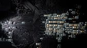 Computer, electronic circuit board close up. Electronic computer hardware technology, computer mothe poster