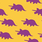 Dinosaur Triceratops Silhouette Pattern Seamless.  Illustration. Purple Dinosaurs On Orange Backgrou poster
