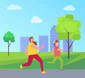 Mom And Daughter Jogging Together, Mother And Girl Jogging And Enjoying City, Trees And Buildings, S poster