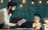 Future Concept. Father Teach Little Son To Read A Book, Future. Future Student Learn Reading With Ma poster