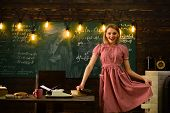 College Time With Happy Retro Woman In Classroom. College Education In Modern Life. College Woman At poster