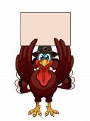 picture of gobbler  - A cartoon thanksgiving turkey in a pilgrim hat with blank on white background - JPG