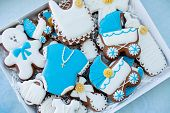Candy Bar On Babys Christening Party: Various Gingerbreads With Blue Mastic For Little Boy poster