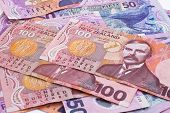 stock photo of nzd  - Close up of dollar notes in New Zealand currency - JPG
