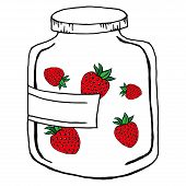 Strawberry Jam In A Glass Jar. Vector Illustration Of Jam From A Strawberry. Hand Drawn Glass Jar Wi poster