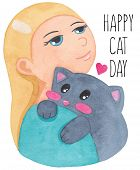 International Cat Day. World Cat Day. Girl Hug Cute Cat. Hug Your Cat Day. Watercolor Illustration I poster
