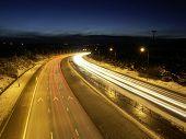 Motorway By Night In Winter