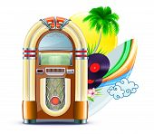 stock photo of jukebox  - illustration of funky summer music background with palm trees jukeboxe vinyle dick hibiscus flowers surfboard and yellow sun - JPG