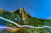 Two Light Trails From Hikers On Trail Of The Path To  Peak With Mountain In Background In Provo Utah poster