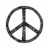 Hippie Symbol Made Of Brush Strokes Vector Illustration Isolated On White Background. Peace Sign In  poster