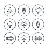 Lighting, Light Bulbs Line Icons On White, Led, Cfl, Fluorescent, Halogen Lamps And Led Strip poster