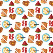 Breakfast Healthy Food Meal Icons Seamless Pattern Background Drinks Flat Design Bread Egg Lunch Hea poster