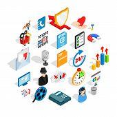 Development Of Ad Icons Set. Isometric Set Of 25 Development Of Ad Vector Icons For Web Isolated On  poster