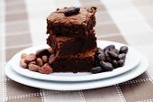 stack of delicious brownie - sweet food /shallow DOFF/