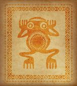 Decorative Ethnic Border On A Piece Of Parchment. Native Americans Symbol Of Frog. poster