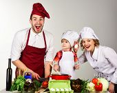 Homemade Food. Happy Family In Kitchen. Healthy Food At Home. Adorable Kid In Chef Hat. Preparation  poster