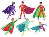 Superhero Man Characters. Cartoon Muscular Hero Character In Colorful Super Costume With Waving Cloa poster