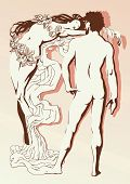 image of unclothed  - Vector illustration of the nude man and the woman in romantic style - JPG