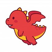 Cute Cartoon Flying Baby Dragon. Funny Little Chubby Dragon Character Drawing. poster