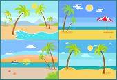 Seascape And Palms Collection, Sea And Umbrella, Tropic Trees On Coast, Set Of Seascapes With Beach, poster