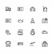 Journey Icons. Set Of Line Icons. Train, Bus, Plane. Journey Concept. Vector Illustration Can Be Use poster