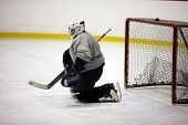 foto of ice hockey goal  - Goaltender in ice - JPG