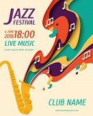 Jazz Festival - Music Paper Cut Style Poster For Jazz Festival Or Night Blues Retro Party With Saxop poster
