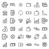 Modern Outline Style Investments Icons Collection. Premium Quality Symbols And Sign Web Logo Collect poster