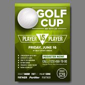 Golf Poster Vector. Design For Sport Bar Promotion. Golf Ball. Modern Tournament. Sport Event Announ poster