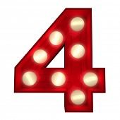 3D rendering of a glowing number 4 ideal for show business signs (part of a complete alphabet)