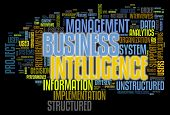 BI - Business intelligence concept in word tag cloud isolated on black