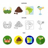 Brazil, Country, Mask, Carnival . Brazil Country Set Collection Icons In Cartoon, Outline, Flat Styl poster