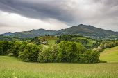 French Pyrenees Mountains View In Early May, Dramatic Overcast Sky, Leaving Saint-jean-pied-de-port, poster