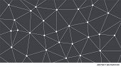 Abstract Connected Grey And White Triangle Vector Pattern. Neural Network Background. Geometric Poly poster