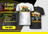 T-shirt Mockup With Hot Rod Phrase In Two Colors. Mockup Layered And Editable. poster