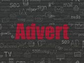 Marketing Concept: Painted Red Text Advert On Black Brick Wall Background With  Hand Drawn Marketing poster