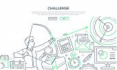Challenge - Modern Line Design Style Illustration On White Background With Place For Your Informatio poster