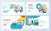Set Of Web Page Design Templates For E-learning, Online Education, E-book. Modern Vector Illustratio poster