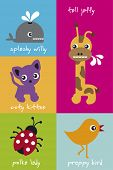 Happy vector animals for children - cat whale lady bug bird and giraffe