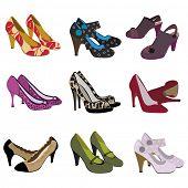 pair of heels set - female trendy fashion footwear