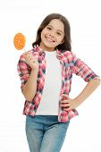 Childrens Menu. Girl Cute Smiling Face Holds Sweet Lollipop. Sweets In Appropriate Portions Ok. Girl poster