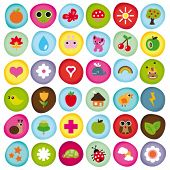 stock photo of orange frog  - Cute icon set collection buttons in vector - JPG