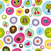 Cute kid pattern with little animals bugs and fruit in vector